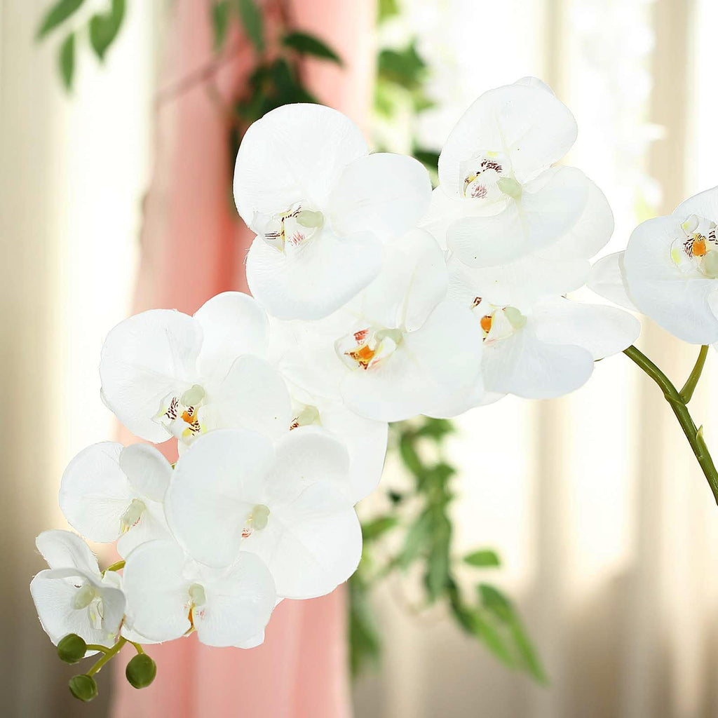 2 Stems 40 White Silk Orchids Stem Artificial Orchid Flowers Tableclothsfactory