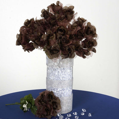 12 Bush 84 pcs Chocolate Artificial organza Rose Bud Flowers Bridal Bouquet Wedding Decoration