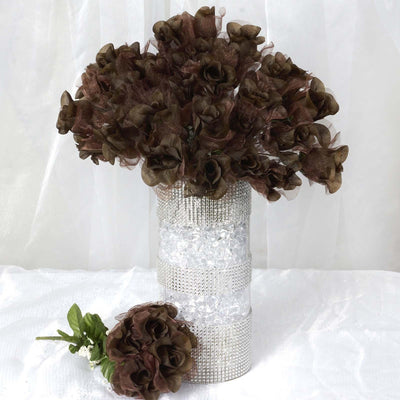 84 Wholesale Organza Rose Buds Wedding Vase Centerpiece Decor - Chocolate