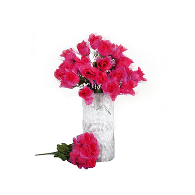 12 Bushes | 84 Pcs | Fushia | Artificial organza Rose Bud Flowers - Clearance SALE