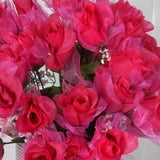 84 Wholesale Organza Rose Buds Wedding Vase Centerpiece Decor - Fushia