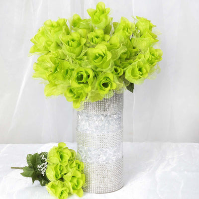 12 Bushes | 84 Pcs | Lime | Artificial organza Rose Bud Flowers