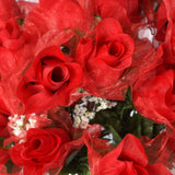 84 Wholesale Organza Rose Buds Wedding Vase Centerpiece Decor - Red
