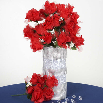 12 Bush 84 pcs Red Artificial organza Rose Bud Flowers Bridal Bouquet Wedding Decoration
