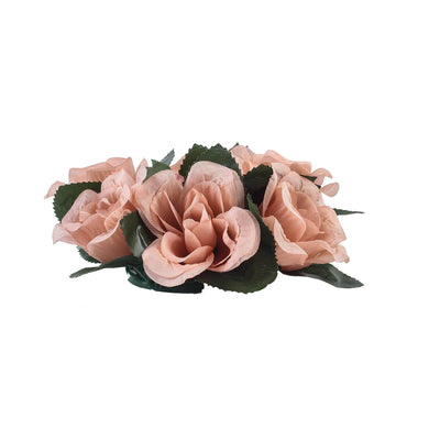 4 Pack Dusty Rose Artificial Silk Rose Floral Candle Rings