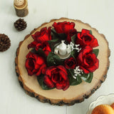 8 Pack Black/Red Artificial Silk Rose Floral Candle Rings