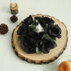 4 Pack Black Artificial Silk Rose Floral Candle Rings