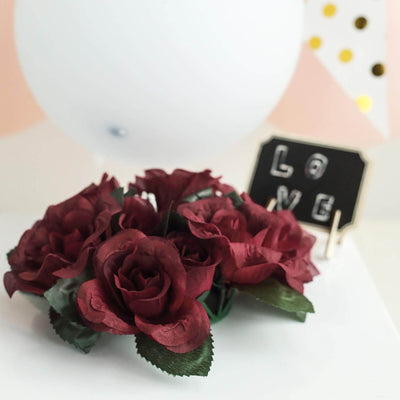 4 Pack Burgundy Artificial Silk Rose Floral Candle Rings