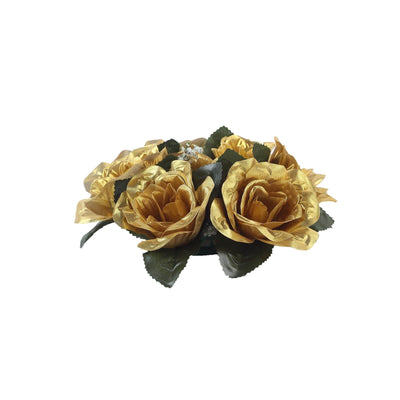 8 Pack Gold Artificial Silk Rose Floral Candle Rings