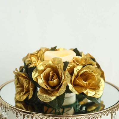 8 PCS Wholesale Candle Rings Wedding Flower Rose Tabletop Centerpieces Gift - Gold