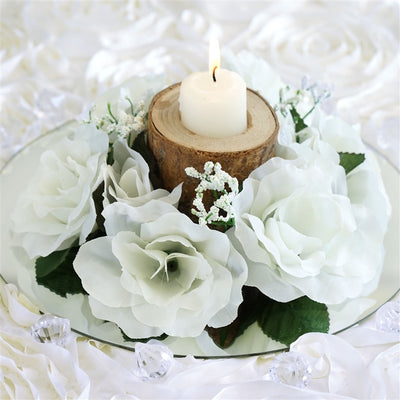 8 PCS Wholesale Candle Rings Wedding Flower Rose Tabletop Centerpieces Gift - Ivory