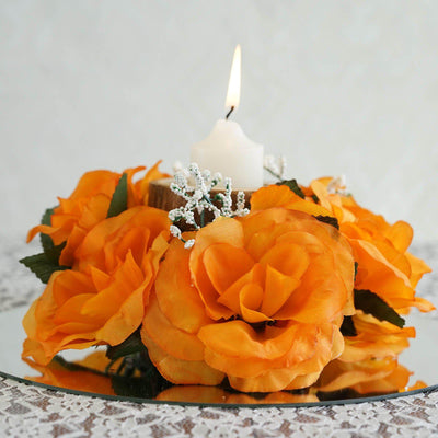 8 Pack Orange Artificial Silk Rose Floral Candle Rings