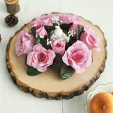 8 Pack Pink Artificial Silk Rose Floral Candle Rings