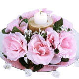 8 Pack Pink Artificial Silk Rose Floral Candle Rings Wedding Tabletop Decoration
