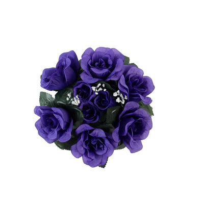 4 Pack Purple Artificial Silk Rose Floral Candle Rings