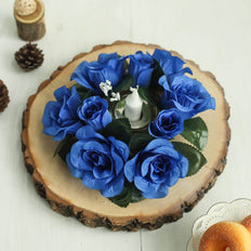 4 Pack Royal Blue Artificial Silk Rose Floral Candle Rings
