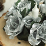 4 Pack Silver Artificial Silk Rose Floral Candle Rings