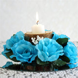 8 PCS Wholesale Candle Rings Wedding Flower Rose Tabletop Centerpieces Gift - Turquoise