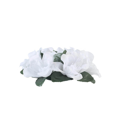 8 Pack White Artificial Silk Rose Floral Candle Rings