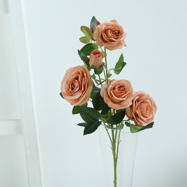 "Pack of 2 | 33"" Dusty Rose Silk Long Stem Roses, Faux Flowers Rose Bouquet"