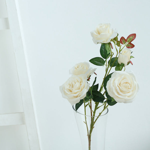 "Pack of 2 | 33"" Ivory Silk Long Stem Roses, Faux Flowers Rose Bouquet"