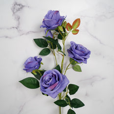 "Pack of 2 | 33"" Violet Silk Long Stem Roses, Faux Flowers Rose Bouquet"