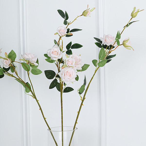 "Pack of 2 | 38"" Silk Long Stem Roses, Artificial Flowers Rose Bouquet - Blush 