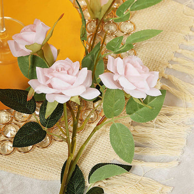 Pack of 2 | 38 inch Silk Long Stem Roses, Artificial Flowers Rose Bouquet - Blush | Rose Gold