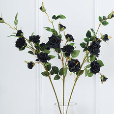 Pack of 2 | 38 inch Black Silk Long Stem Roses, Artificial Flowers Rose Bouquet
