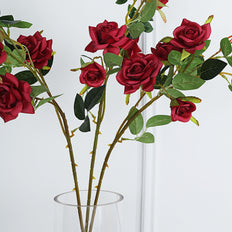 Pack of 2 | 38 inch Burgundy Silk Long Stem Roses, Artificial Flowers Rose Bouquet