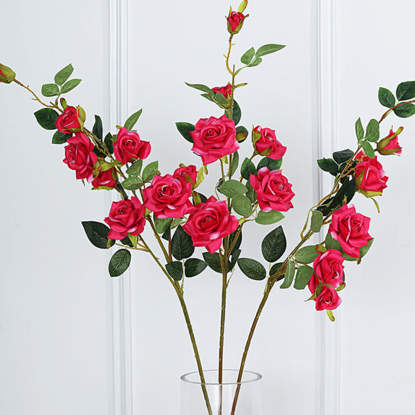 "Pack of 2 | 38"" Fushia Silk Long Stem Roses, Artificial Flowers Rose Bouquet"