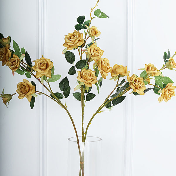 "Pack of 2 | 38"" Gold Silk Long Stem Roses, Artificial Flowers Rose Bouquet"