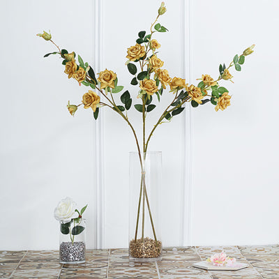 Pack of 2 | 38 inch Gold Silk Long Stem Roses, Artificial Flowers Rose Bouquet