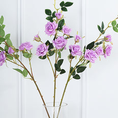 Pack of 2 | 38 inch Lavender Silk Long Stem Roses, Artificial Flowers Rose Bouquet