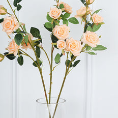Pack of 2 | 38 inch Peach Silk Long Stem Roses, Artificial Flowers Rose Bouquet