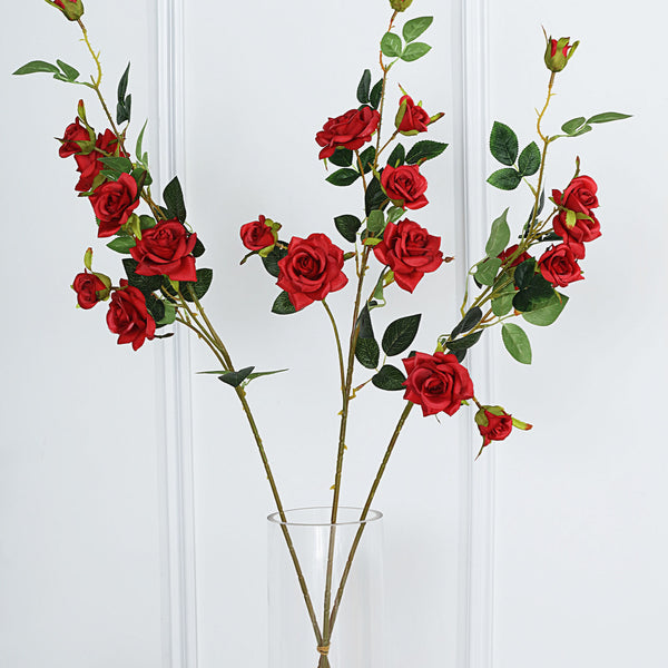 "Pack of 2 | 38"" Red Silk Long Stem Roses, Artificial Flowers Rose Bouquet"