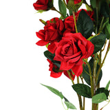 Pack of 2 | 38 inch Red Silk Long Stem Roses, Artificial Flowers Rose Bouquet