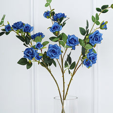 Pack of 2 | 38 inch Royal Blue Silk Long Stem Roses, Artificial Flowers Rose Bouquet