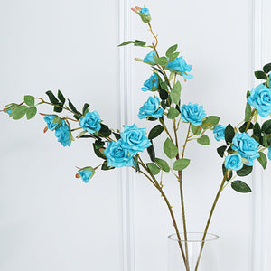 Pack of 2 | 38 inch Turquoise Silk Long Stem Roses, Artificial Flowers Rose Bouquet