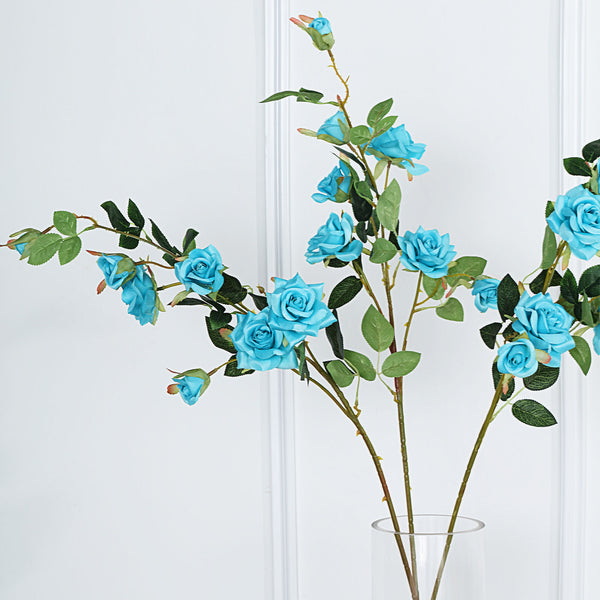 "Pack of 2 | 38"" Turquoise Silk Long Stem Roses, Artificial Flowers Rose Bouquet"
