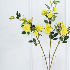 Pack of 2 | 38 inch Yellow Silk Long Stem Roses, Artificial Flowers Rose Bouquet