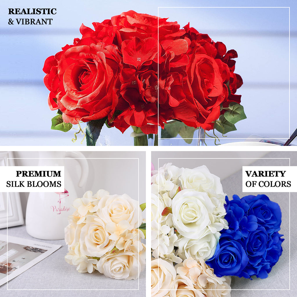 2 Pack Red Rose Hydrangea Artificial Silk Flowers Bouquet Tableclothsfactory