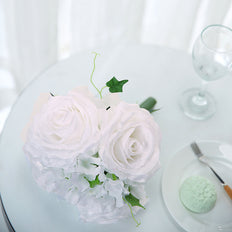2 Pack | White Rose & Hydrangea Artificial Silk Flowers Bouquet