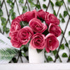 14 Fushia Velvet Roses Artificial Flower Bouquet