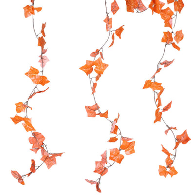 8 Pack 6 Ft Orange UV Protected Fall Ivy Silk Leaf Chain Artificial Garland Wedding Arch Stage Decoration