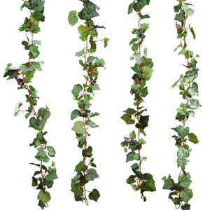 4 Pack 24 Ft UV Protected Artificial Frosted Grape & Leaf Chain Garland Wedding Arch Stage Decoration