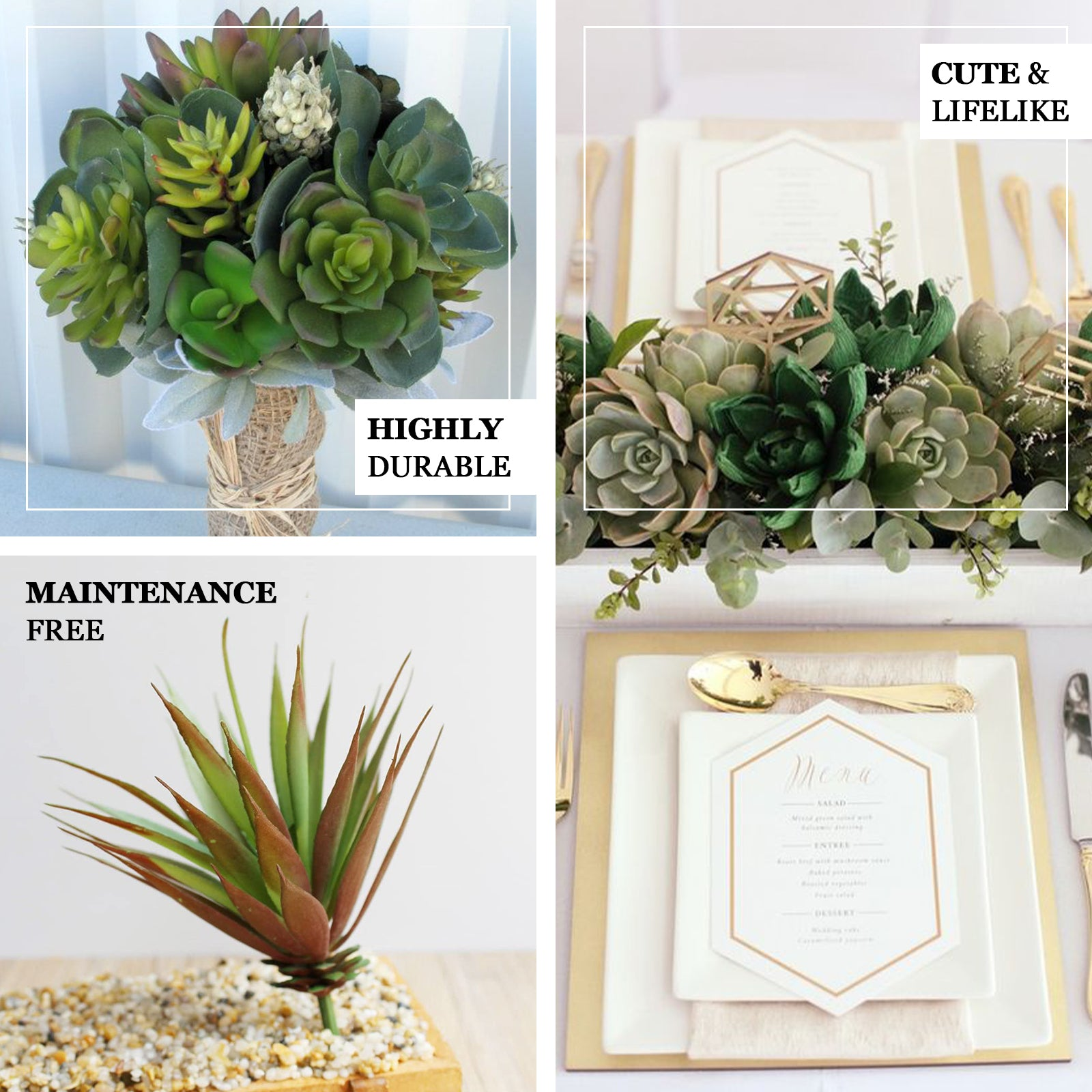 Set Of 3 13 Assorted Artificial Succulent Plants Yucca Aloe Vera Long Stem Air Plants Tableclothsfactory
