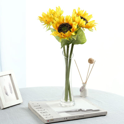 17inch Tall Artificial Sunflower Bouquet, Yellow Sunflower Stems Wedding Bouquet - 3 Stems