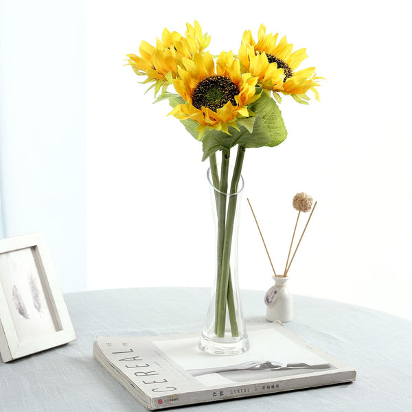 "17"" Tall Artificial Sunflower Bouquet, Yellow Sunflower Stems Wedding Bouquet - 3 Stems"