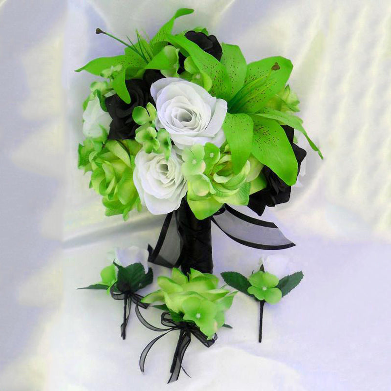 10 Pack 70 Pcs Lime Green Artificial Silk Tiger Lily Flowers Bridal ...
